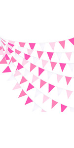 Rose Pink Pennant Banner Fabric Triangle Flag Garland Kit for Wedding Birthday
