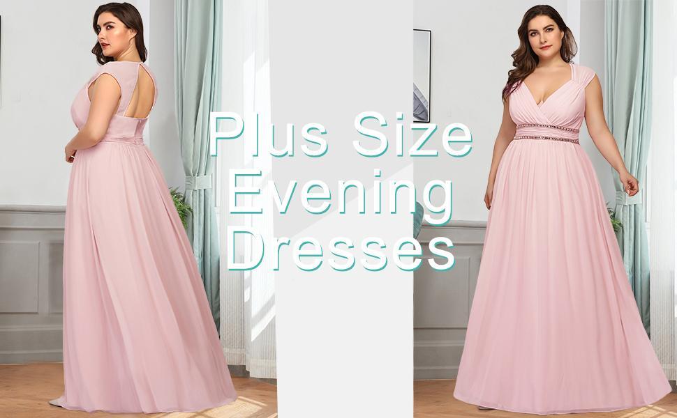 Ever-Pretty Womens Elegant V-Neck Ruffle Sleeves A-Line Empire Waist Floor Length Plus Size Chiffon Evening Dresses 00474