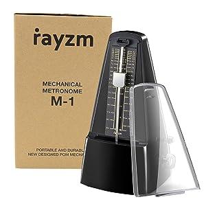 Rayzm metrónomo mecánico con alta precisión para toda clase de instrumentos (piano/batería/violín/ guitarra/bajo e instrumentos de viento). Chasquido ...