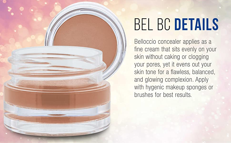 Belloccio Professional Cosmetic Grade Smooth Blending Concealer Matte Finishs, Water Based