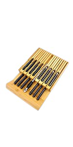 In-drawer Knife Block Bamboo Kitchen Knife Drawer Organizer Steak knife Holder knife holder