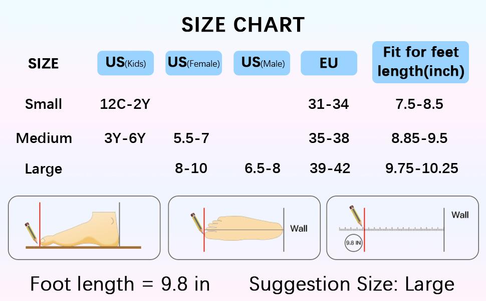 Inline skates size chart