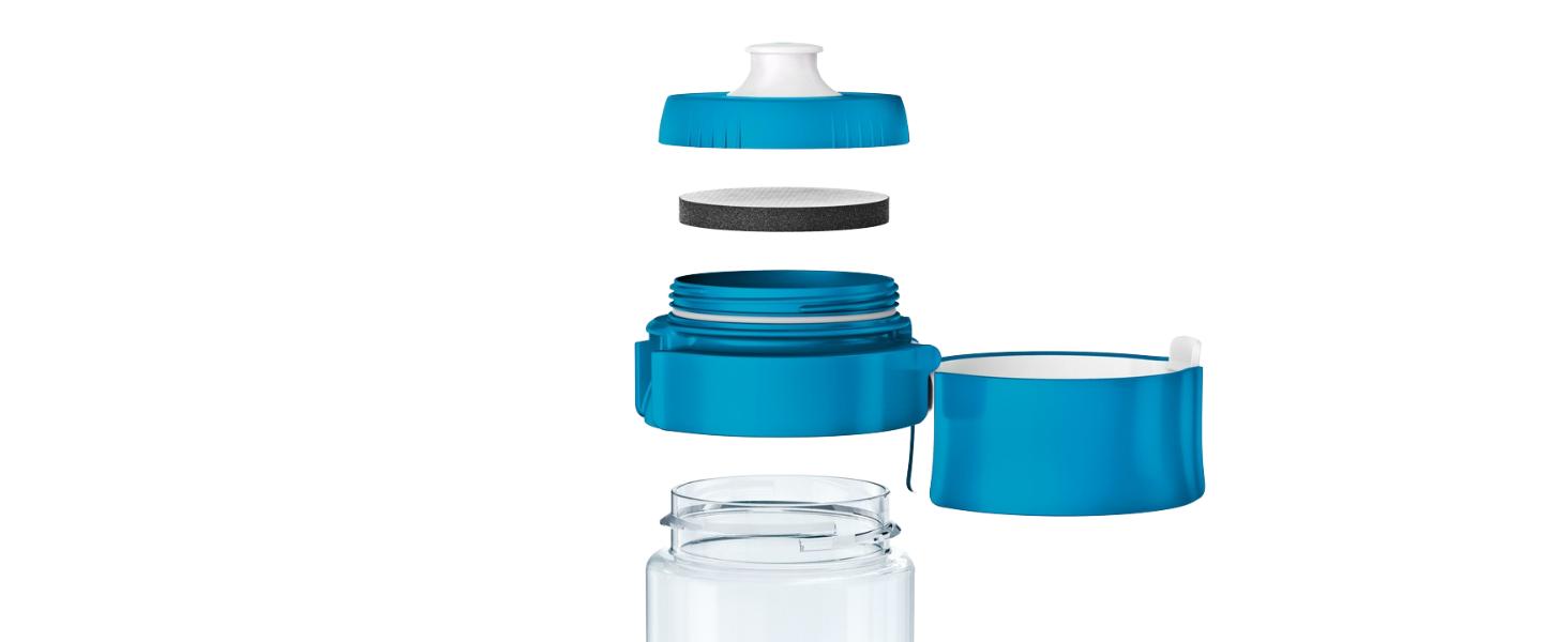gourde filtrante brita bleue transparente avec filtre microdisc