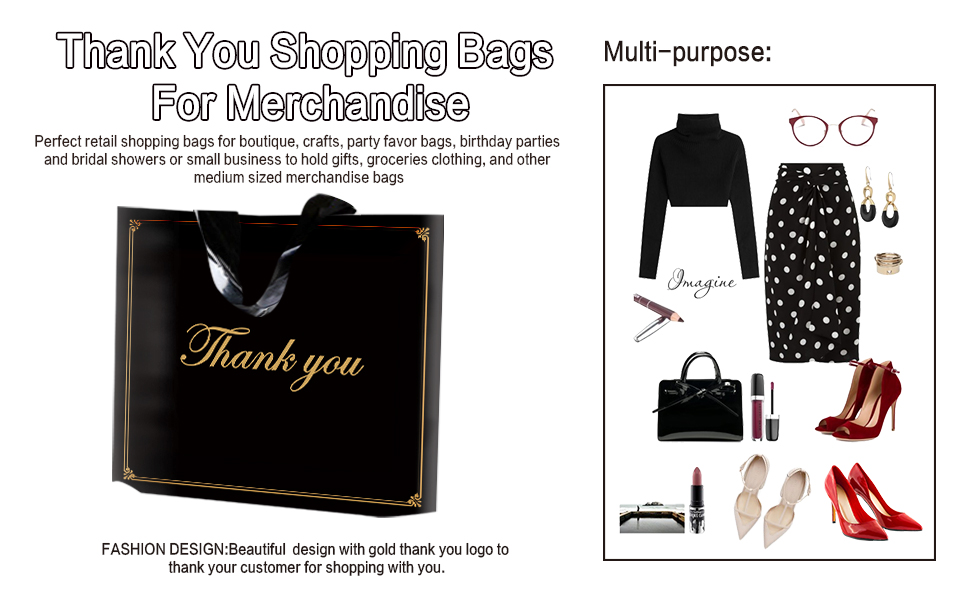 Molotar Gold Thank You Bag with Soft Loop Handle