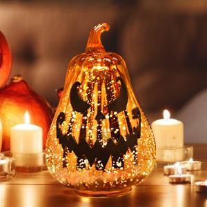 glass pumpkins with lights