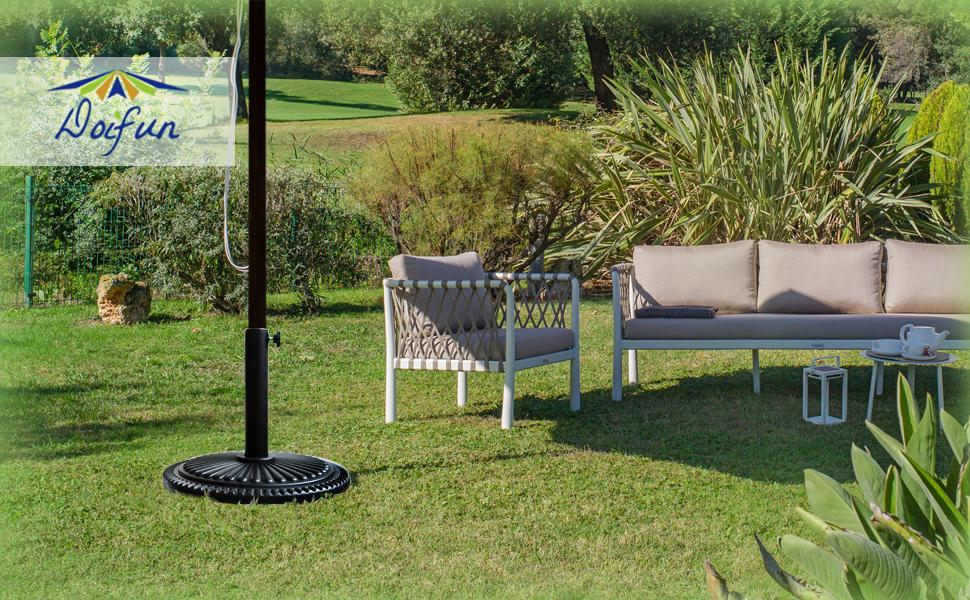 umbrella stand will pair well with all your outdoor décor