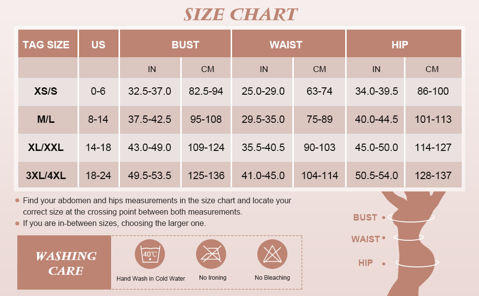 Size Chart for compression bodysuit