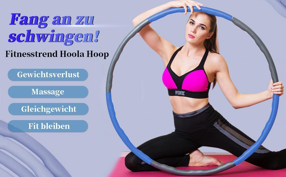 BENEFAST Hula Hoop Reifen Erwachsene f/ür Gewichtsabnahme und Massage Zuhause und B/üRo K/örperformung Abnehmbarer 8 St/ück Hoola Hoop Reifen f/ür Fitness