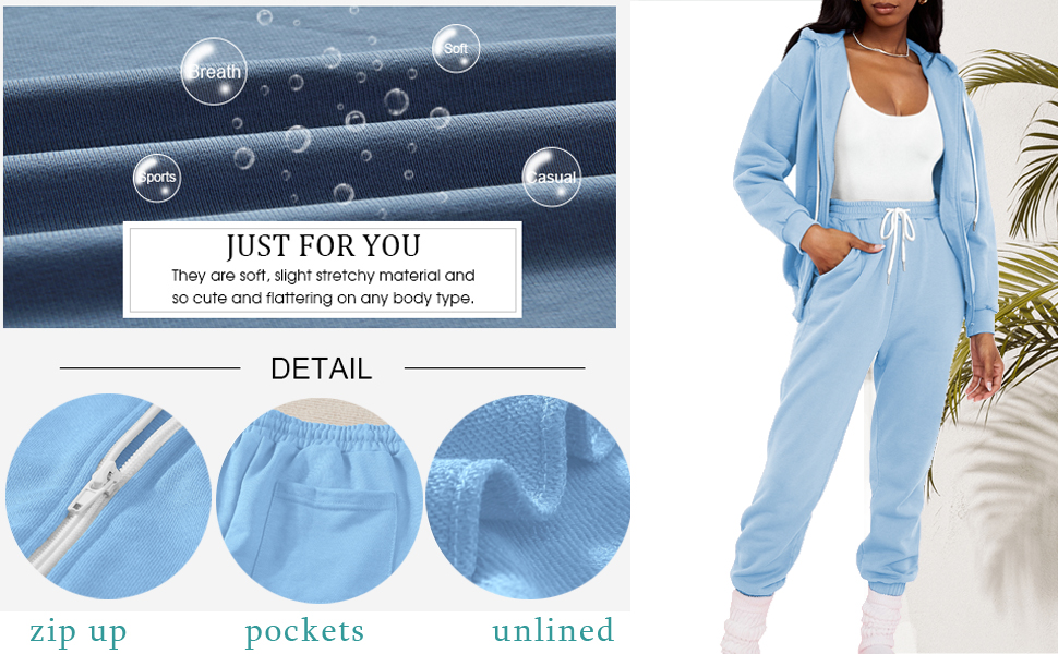 zip up tracksuits jogger set for women sports