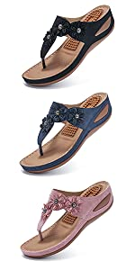 Womens Wedge Flip Flops Sandals with Arch Support Summer Comfortable Platform Bohemia Flat Shoes