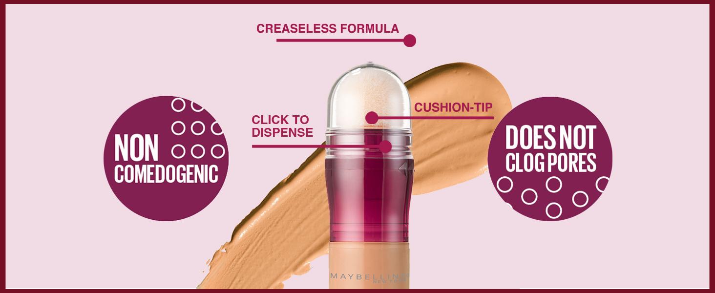 creaseless formula, click to dispense, cushion-tip