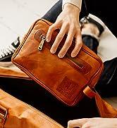 Berliner Bags Vintage Kulturbeutel Paul aus Leder, Kulturtasche für Damen und Herren für Reisen -...