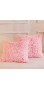 Matching pink Faux Fur Throw Pillow Covers available