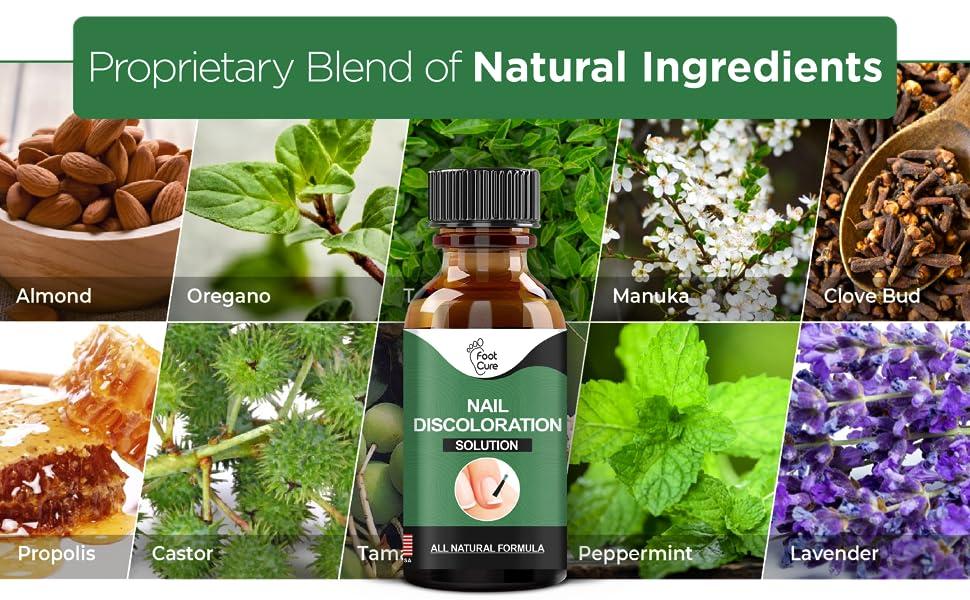 almond, oregano, thyme, manuka, clove bud, propolis, castor, peppermint, lavender