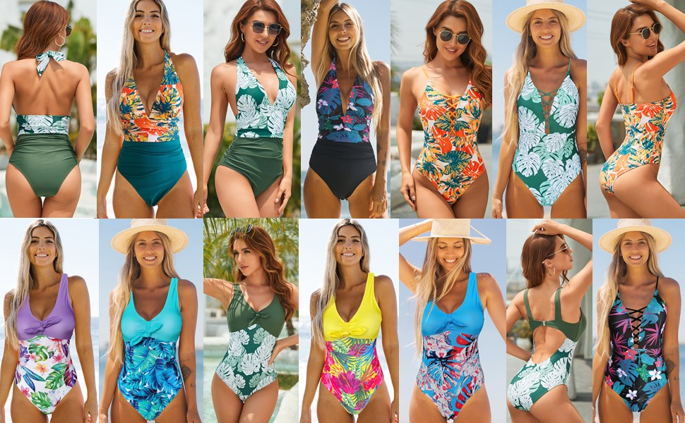 Binlowis V Neck Push Up One Piece Swimsuit Women Floral Print Sexy Bathing Suit Plunging Swimwear