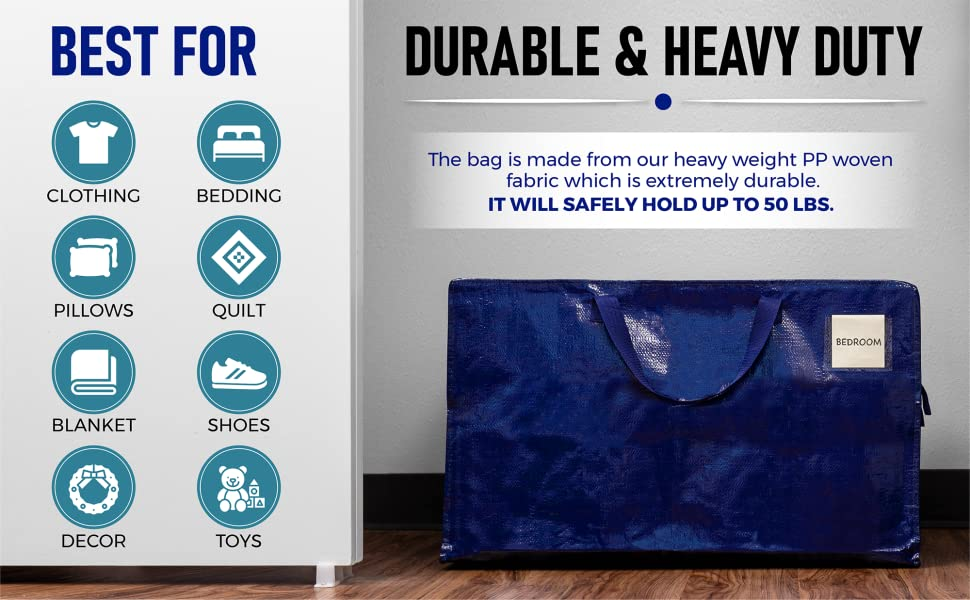 VENO storage tote are durable and heavy duty, best for clothing, bedding, toys, decor, blanket