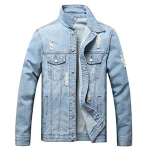 LUCKAMILEE Jean Jacket for Men Light Blue