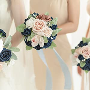dusty rose amp; navy bouquet