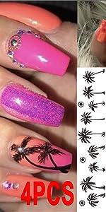 Nails Art Coconut Nail Art Decoration Slider Coconut Palm Tree Adhesive Manicure Leaf Sliders