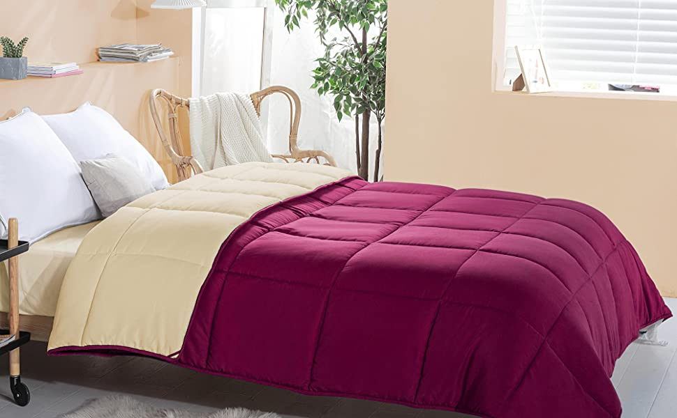 all season Down Alternative Quilted Comforter,Soft Reversible Comforters, wheat/burgundy