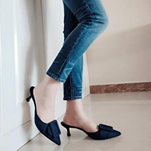 Drak Blue kitten heels
