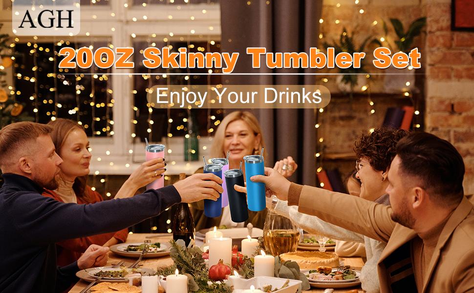 20 oz insulated skinny tumbler with straw