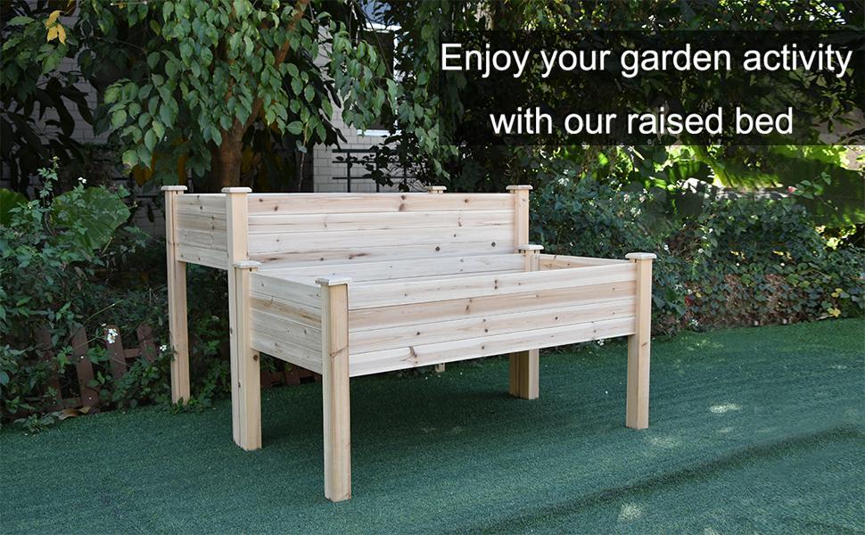 Two tier garden raised bed planter box