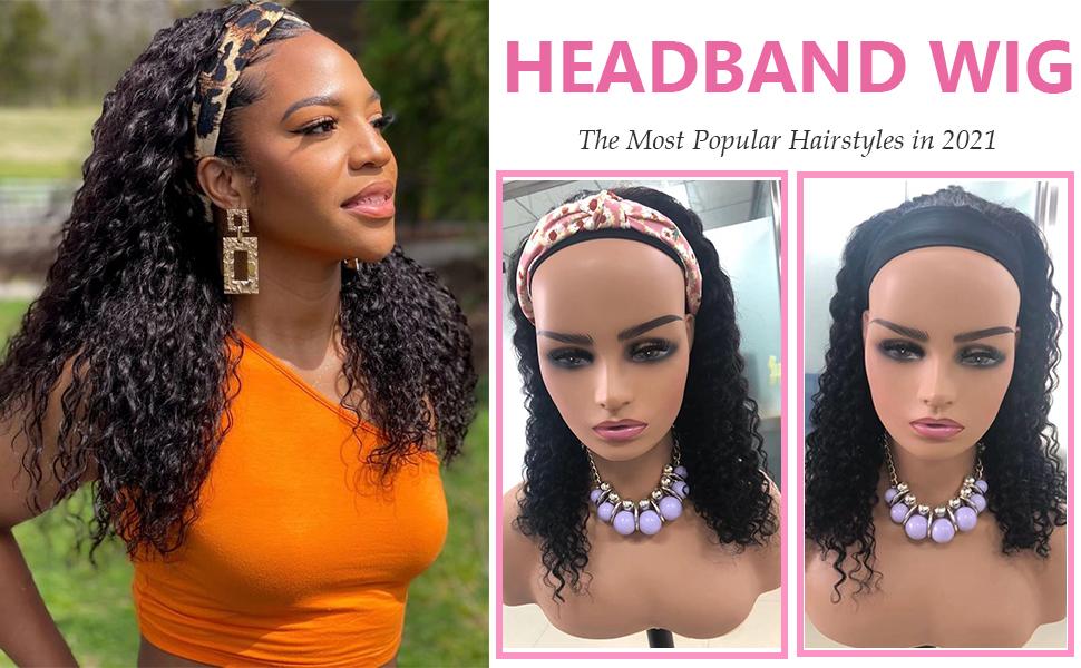 deep wave headband wigs human hair