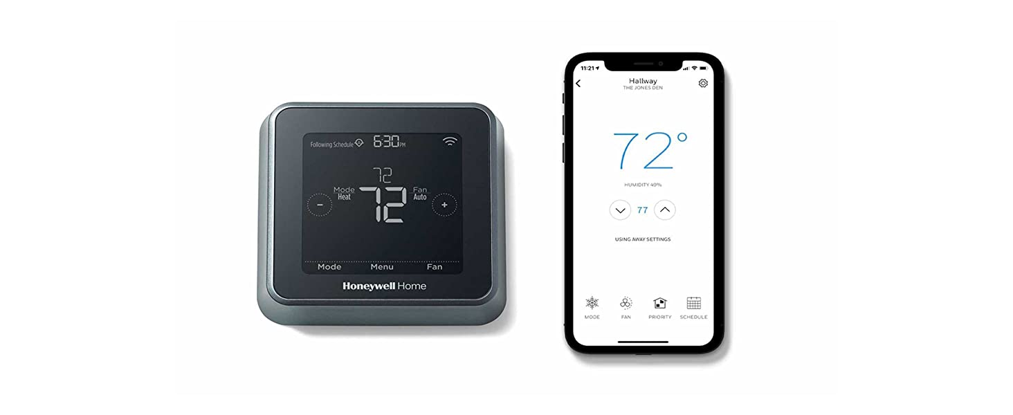 T5 Thermostat and smart phone displaying app screen with thermostat controls