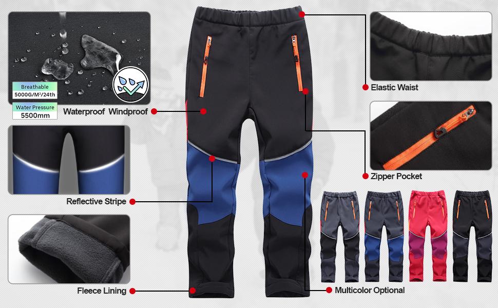 kids kids pants warm snow pants for girls boys hiking pants boys snow pants size 6