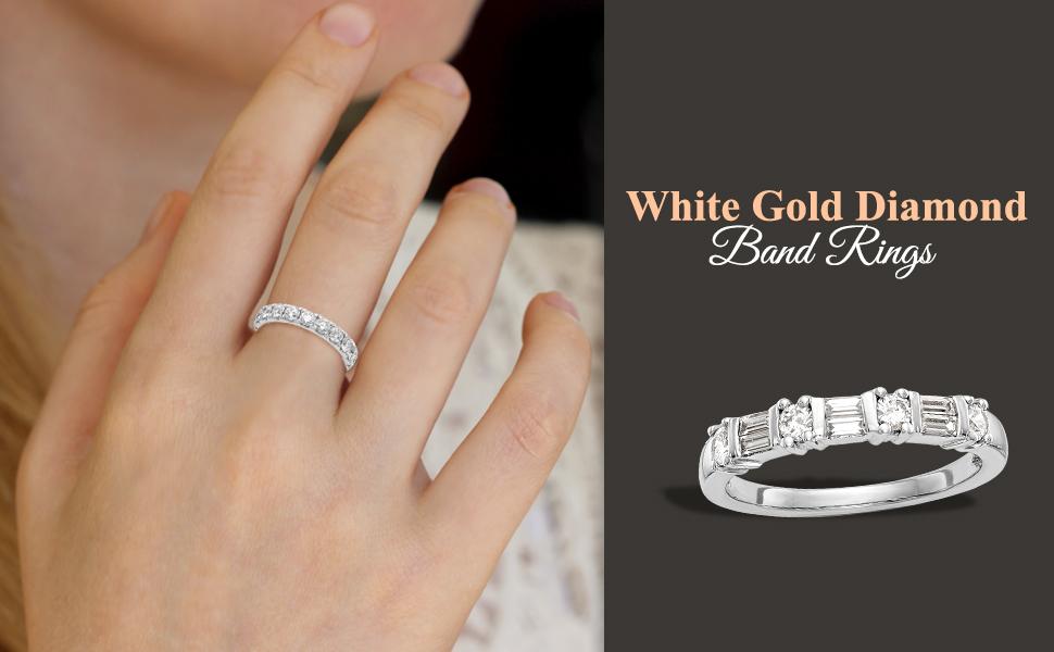 White Gold Diamond Band Rings