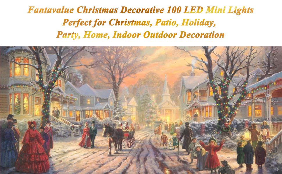 Christmas 100 LED String Lights,33ft Xmas Lights,Indoor Outdoor String Lights for Christmas Tree