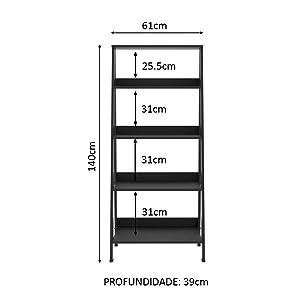Estante Escada Cavalete Preta