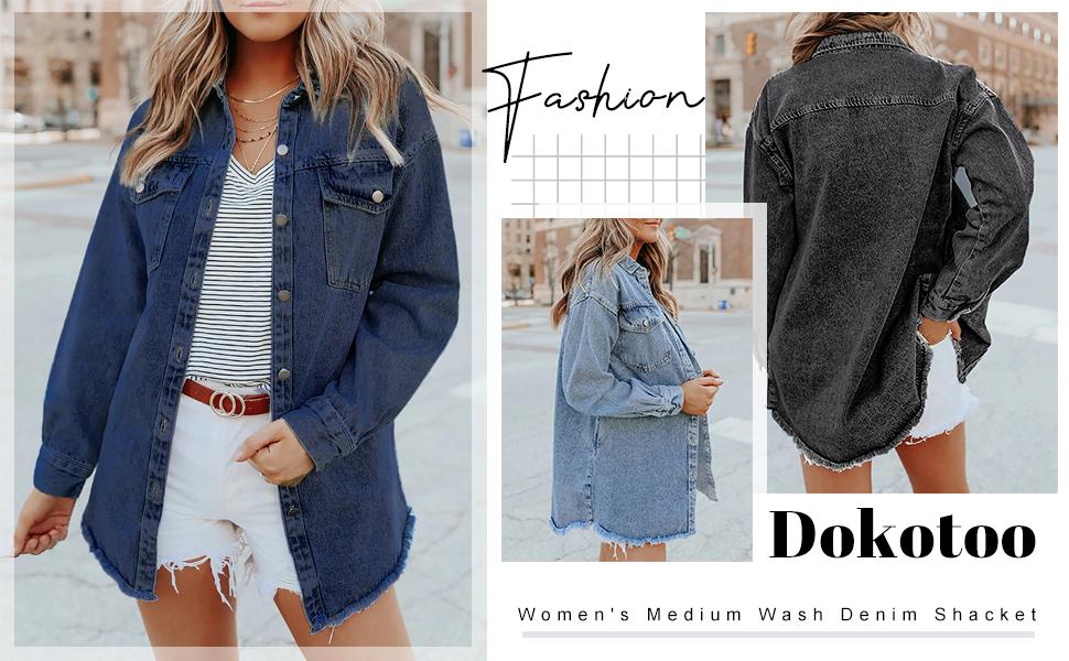 Dokotoo Women's Ripped Distressed Casual Denim Jean Jacket Denim Jacket