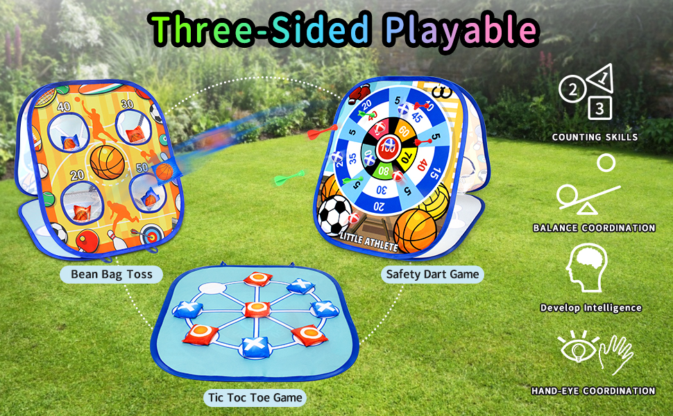 3 gameplay of this board: Bean Bag Toss, Tic Toc Toe Game Safety Dart Game