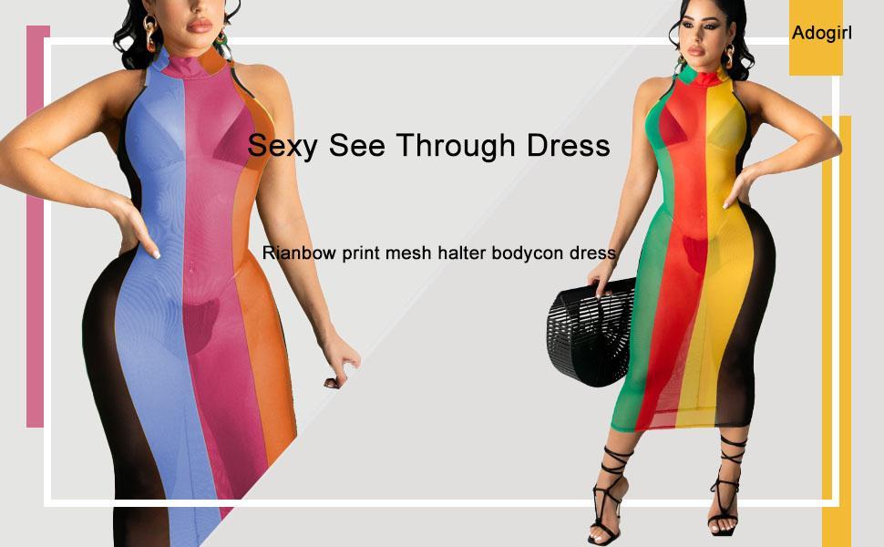sheer mesh see through dress