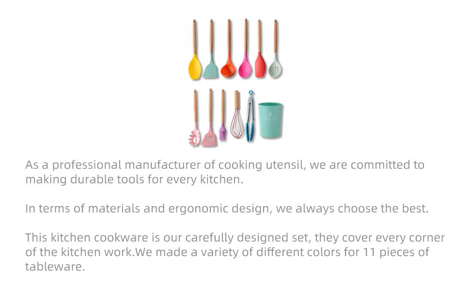 Silicone Kitchen Cooking Utensil Set
