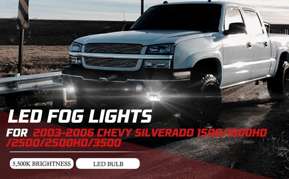 LED Fog Lights Compitable for 2003 2004 2005 2006 Chevy Silverado 1500/1500HD/2500/2500HD/3500
