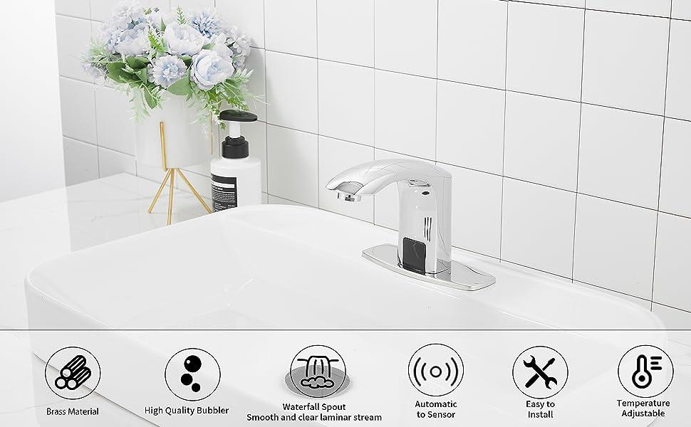 Automatic Sensor Touchless Bathroom Sink Faucet Commercial Chrome Hands Free Bathroom