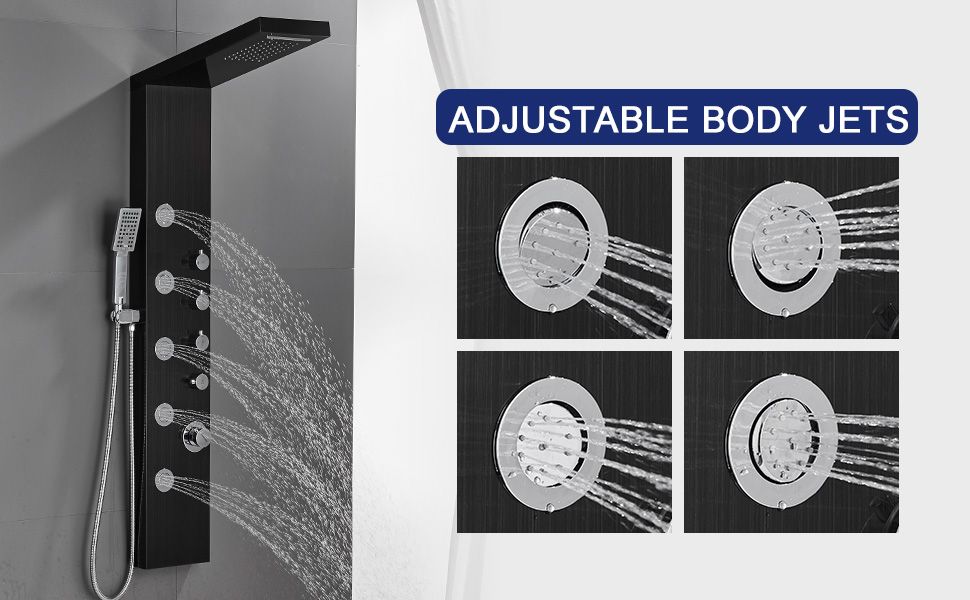 SHOWER PANEL TOWER WITH BODY JETS