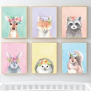 woodland safari animals wall art decor posters nursery playroom kids room bedroom