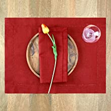 Dinner Napkins Placemats Red Linen