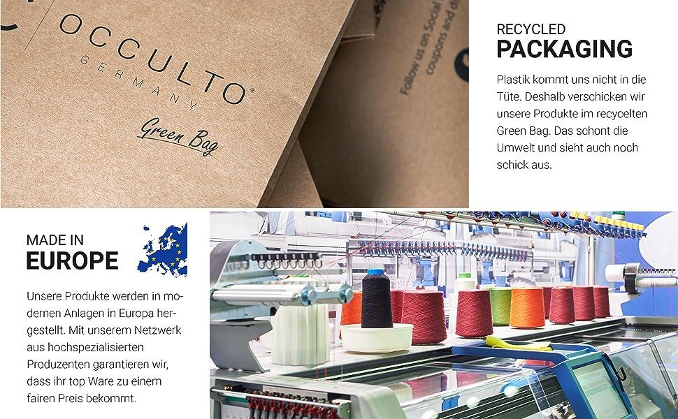 Paquete reciclado de Occulto con texto y imagen de una planta de producción para la producción textil.