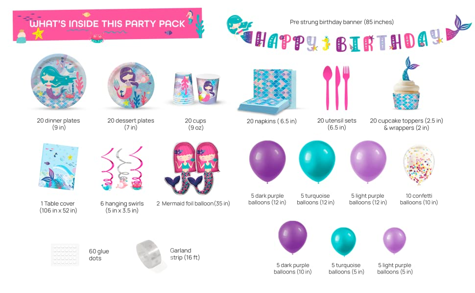 mermaid party supplies for girls