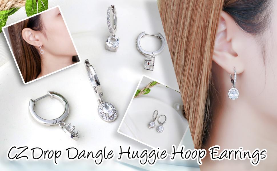 White CZ Dangle Huggie Hoop Earrings