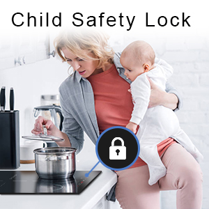 Child lock induction cooktop