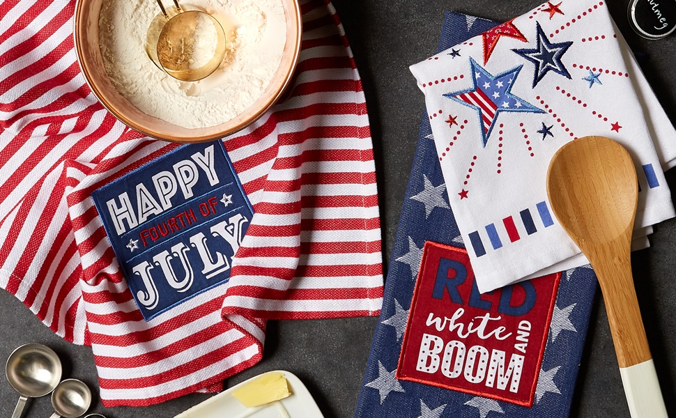 DII 4th of July-themed kitchen collection embellished dishtowel set.