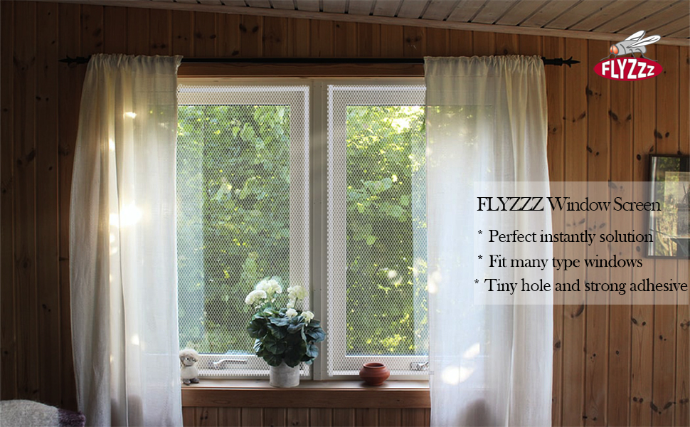 Window with curtain, and DIY window screen installed,