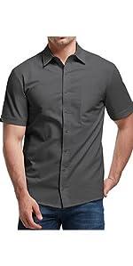 Mens Short Sleeve Shirts Linen Casual Button Down Tees Spread Collar Plain Shirts