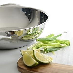 effet miroir fini wok sans revêtement inox wok compatible induction